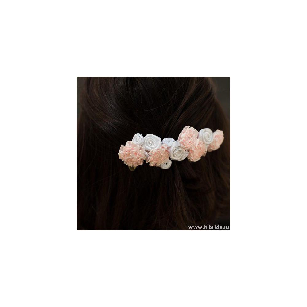 """Гребень """"Тканевые цветы"""""""