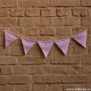 Гирлянда на свадьбу из флажков светло-розовая