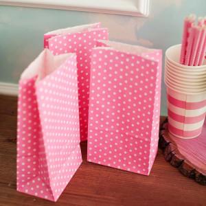 Бумажные пакетики polka dot (розовый)
