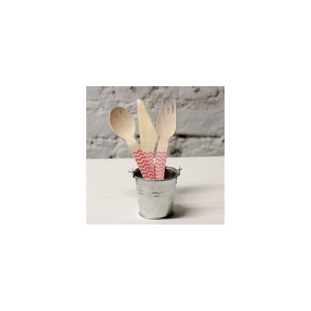 Деревянные столовые приборы (розовый) 30 предметов