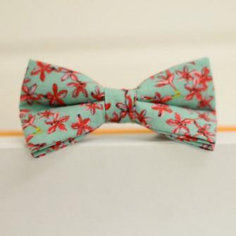 Бирюзовые бабочки галстуки в цветочек