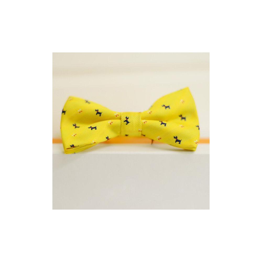Желтая бабочка галстук с принтом