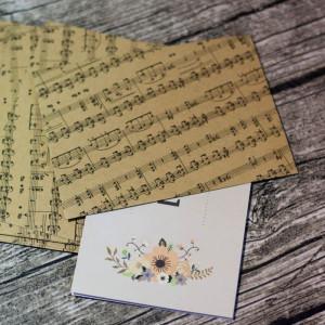 Конверты для приглашений  Музыка (крафт)