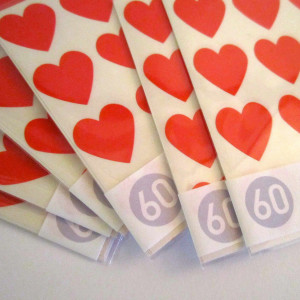 Наклейки сердечки на свадьбу (60 шт.)