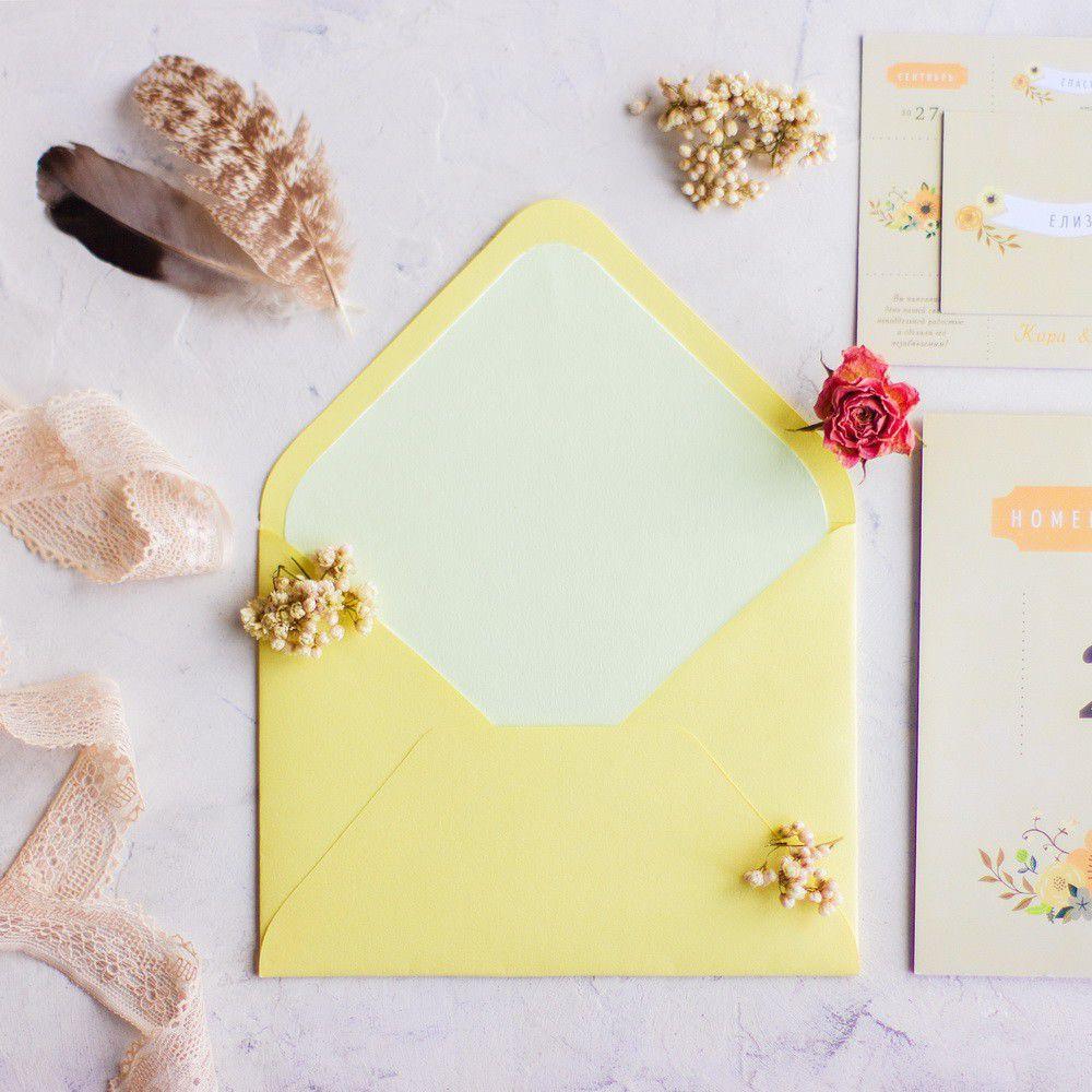 Конверт для приглашения, светло-жёлтый