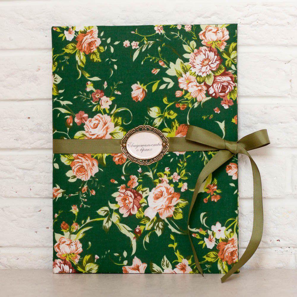 Папка для свидетельства - Розы в зелени