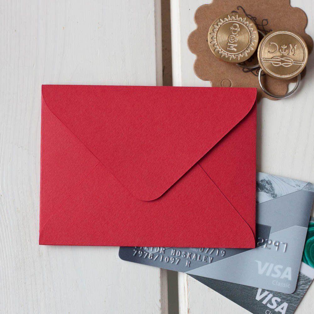 Алый — конверт для визитки 10х7.5 см