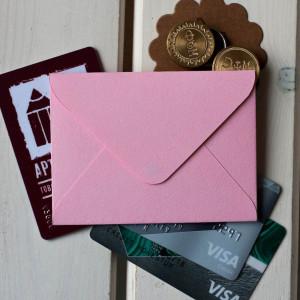Бледно-розовый — конверт для визитки 10х7.5 см