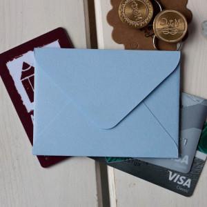 Голубой — конверт для визитки 10х7.5 см