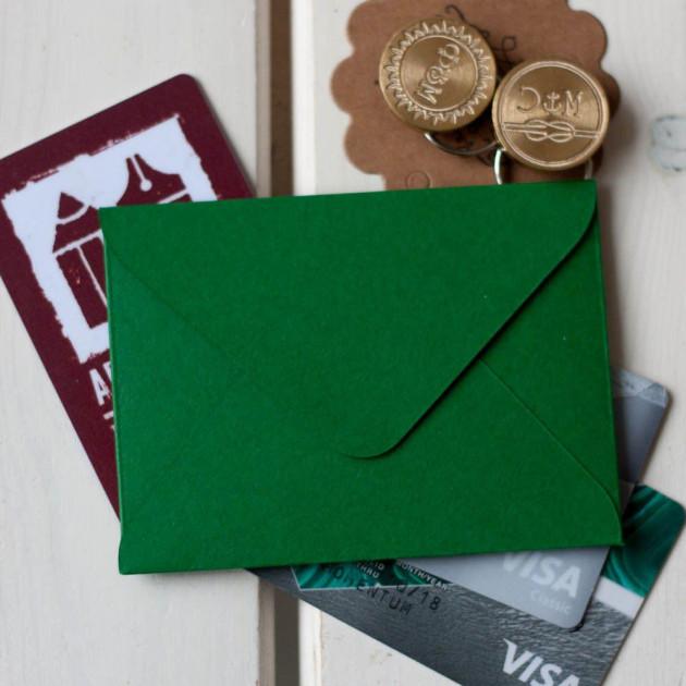 Зеленый — конверт для визитки 10х7.5 см