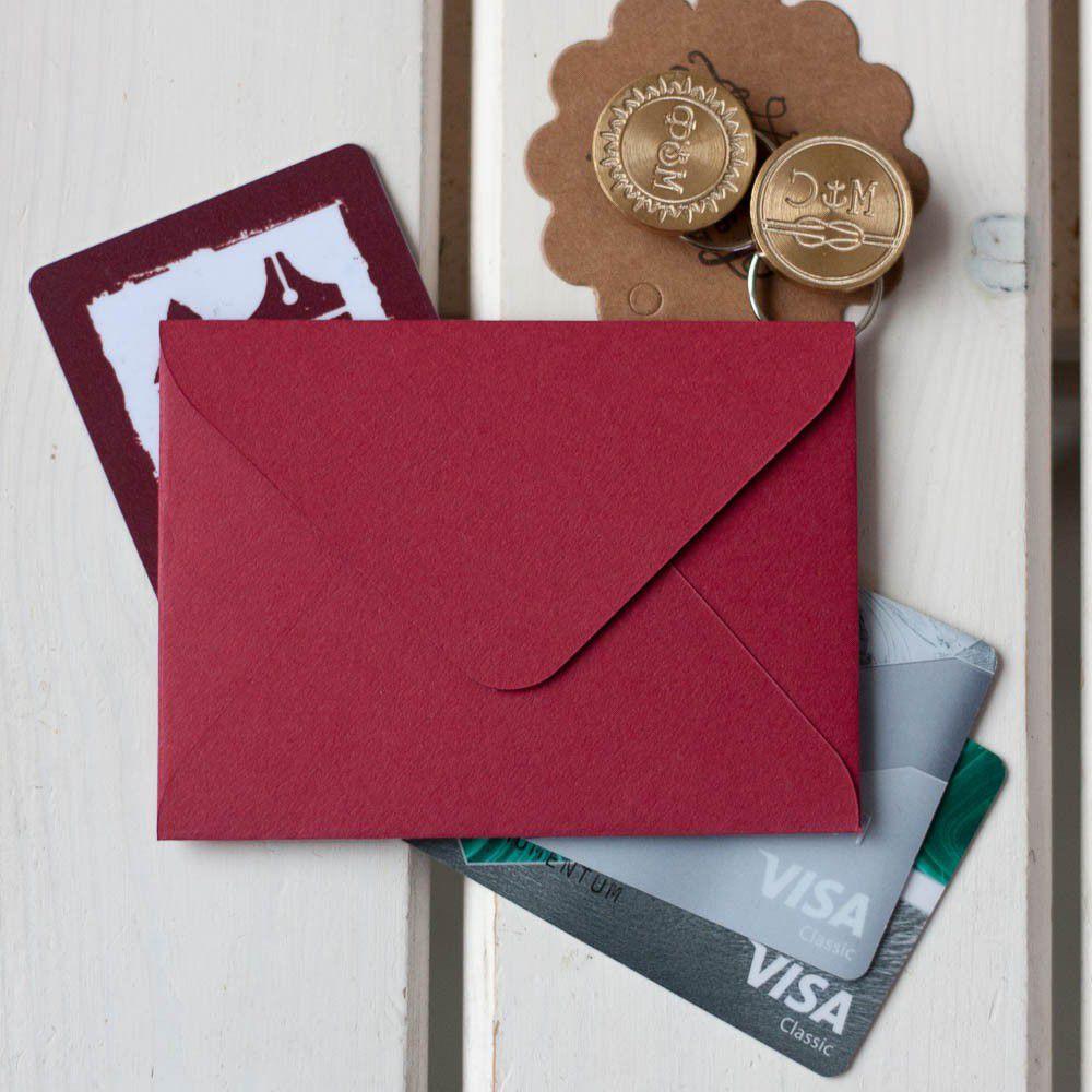 Красный — конверт для визитки 10х7.5 см