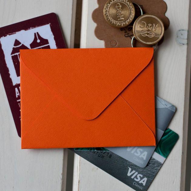 Мандариновый- конверт для визитки 10х7.5 см