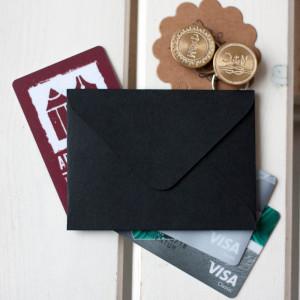 Черный — конверт для визитки 10х7.5 см