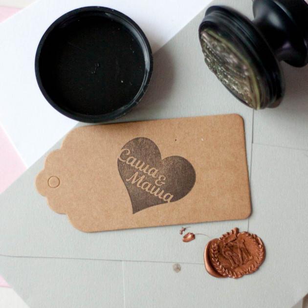 Печать сердцем с инициалами