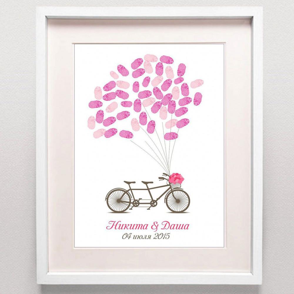 Плакат пожеланий на свадьбу, велосипед