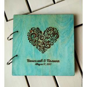 """Книга пожеланий из дерева """"Сердце"""", на кольцах"""