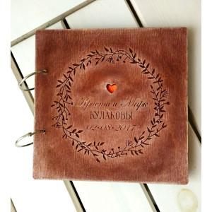 """Книга пожеланий из дерева """"Цветочный венок"""", на кольцах"""