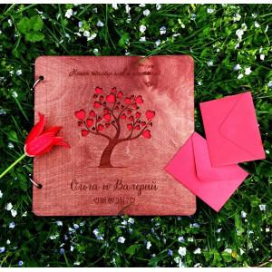 """Книга пожеланий из дерева """"Цветущее дерево с вырубкой"""", на кольцах"""
