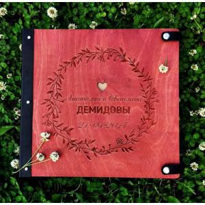"""Книга пожеланий из дерева """"Цветочный венок"""", на кнопках"""