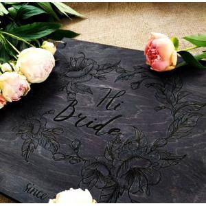"""Книга пожеланий из дерева """"Нежные цветы"""", на кольцах"""