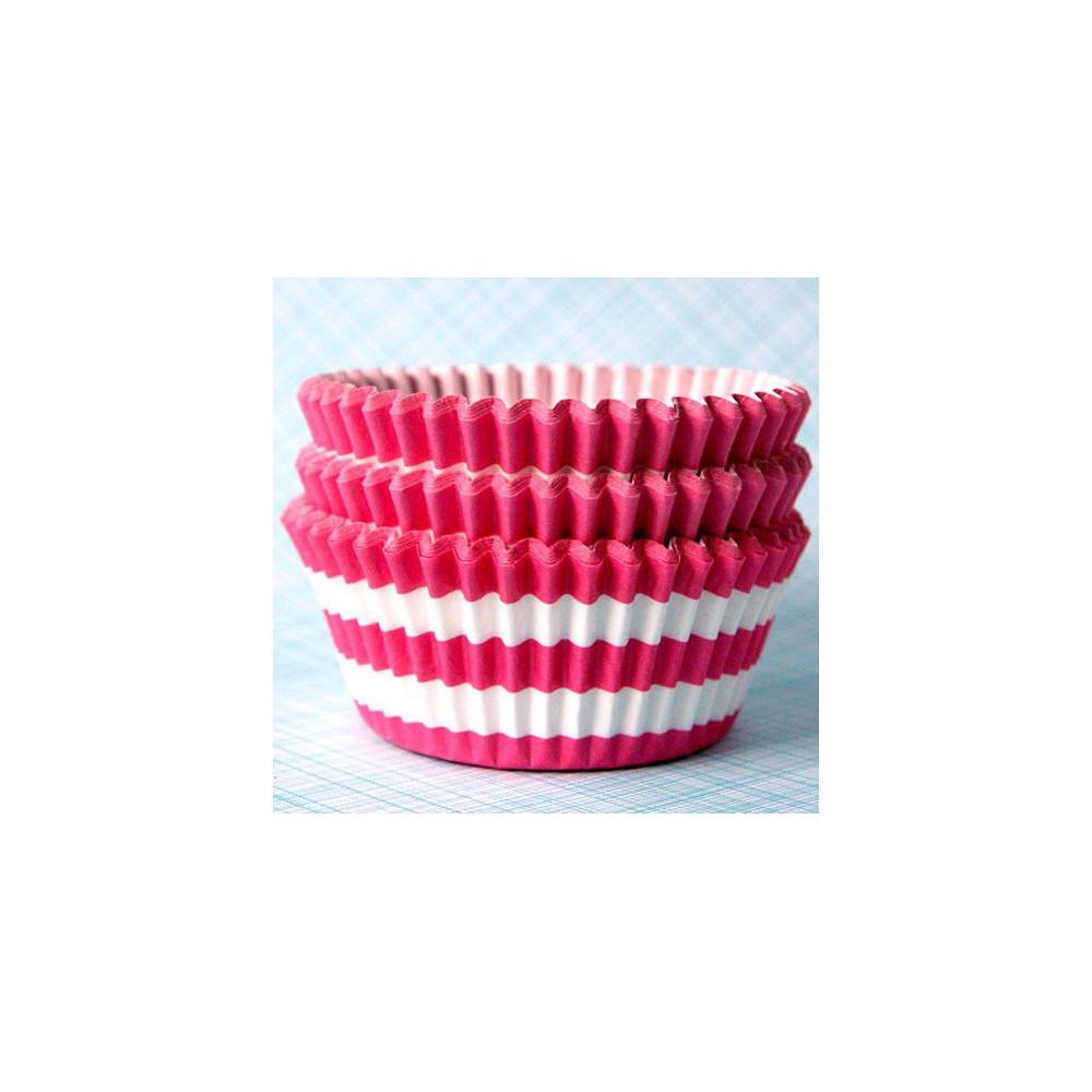 Формочки для капкейков в полоску (розовые)