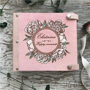 Пионы - Деревянный свадебный фотоальбом