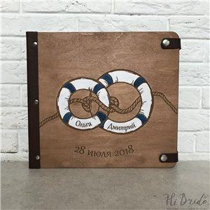 Морской  - Деревянный свадебный фотоальбом