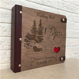 Горы - Деревянный свадебный фотоальбом