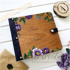 Цветочная  - Деревянный свадебный фотоальбом