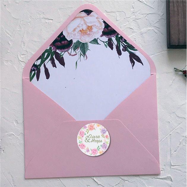 Наклейка на свадебный конверт
