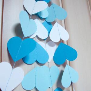 Гирлянда из сердечек бело-голубая (5 метров)