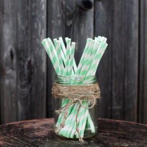 Трубочки для декора свадьбы (мятный цвет)