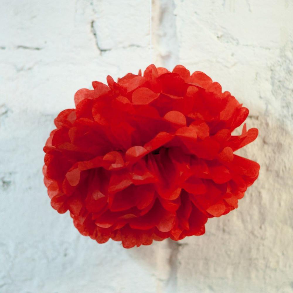 Помпон бумажный (красный)