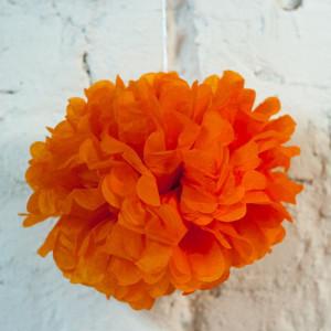 Помпон бумажный (оранжевый)