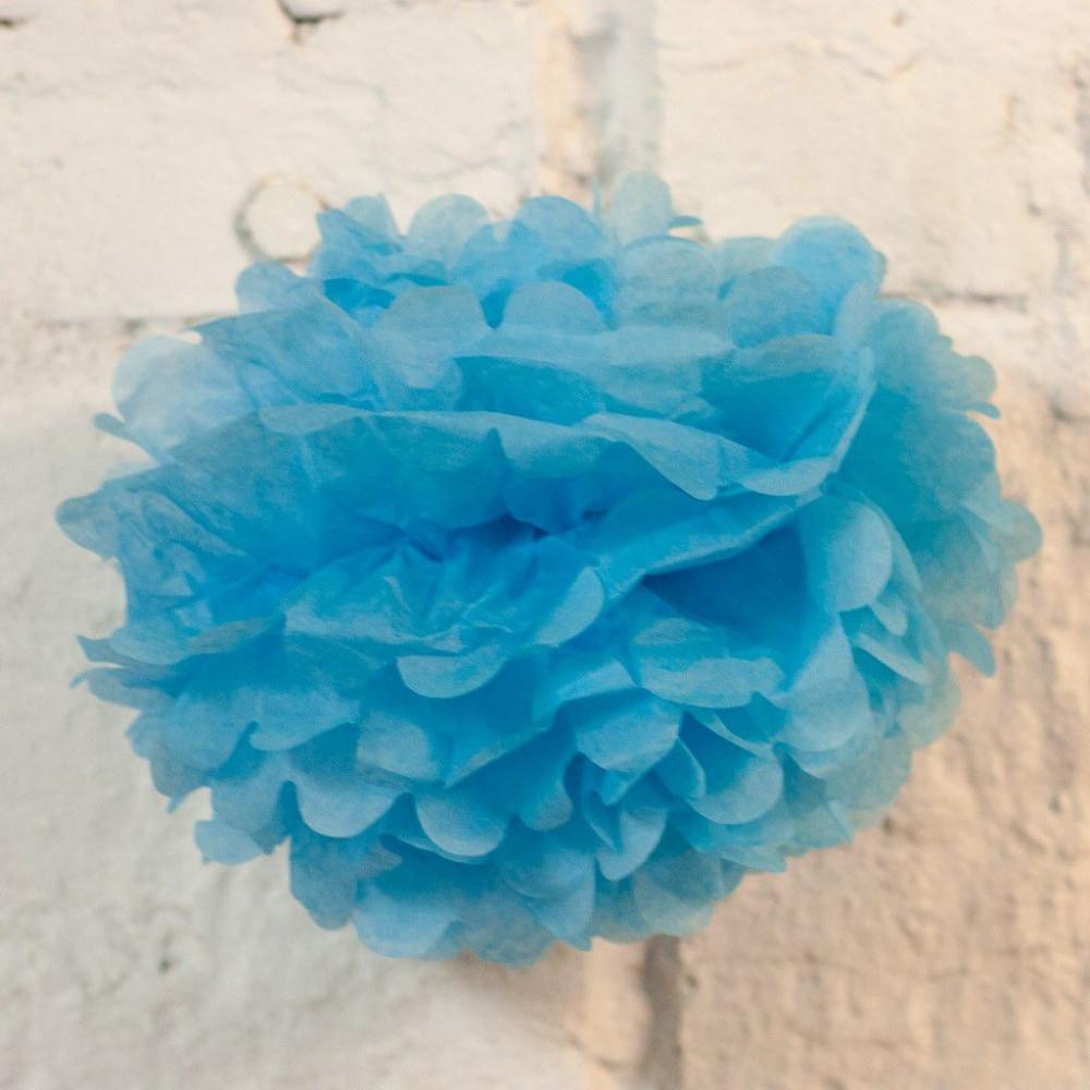 Помпон бумажный (голубой)