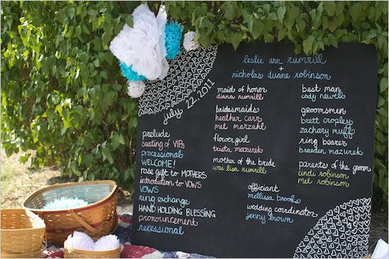 свадебное меню на доске для мела
