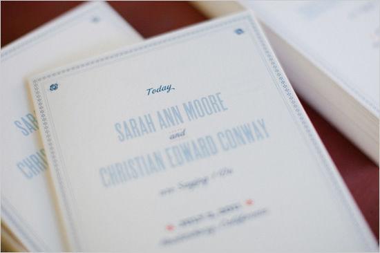 программка на свадьбу