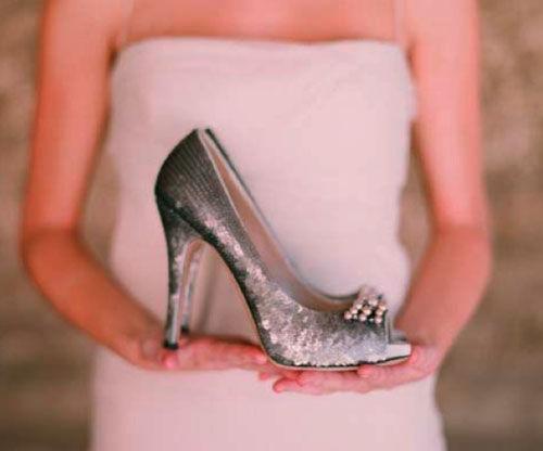свадебные туфли серебряные