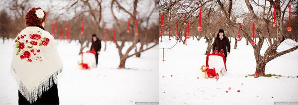 павлопосадский платок розы на снегу фото
