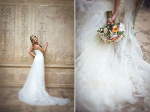 платье невесты с кружевной отделкой