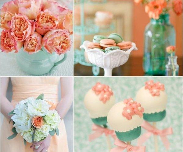 оформление свадьбы мятный и персиковый