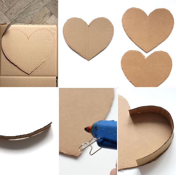 сделать объемное сердце из картона