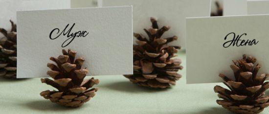 свадебные рассадочные карточки шишки