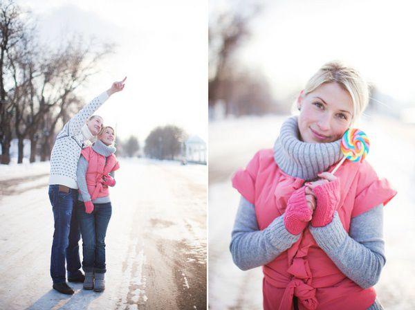 фотосессия влюбленных зимой