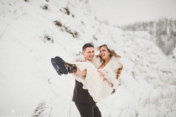 зимняя свадебные фотографии