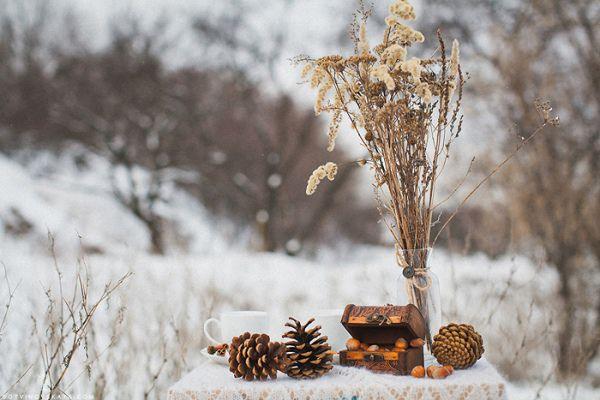 зимняя фотосессия рустик
