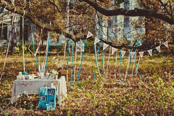 декор свадьбы в бирюзовом цвете