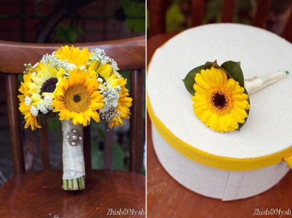 букет и бутоньерка на желтую свадьбу