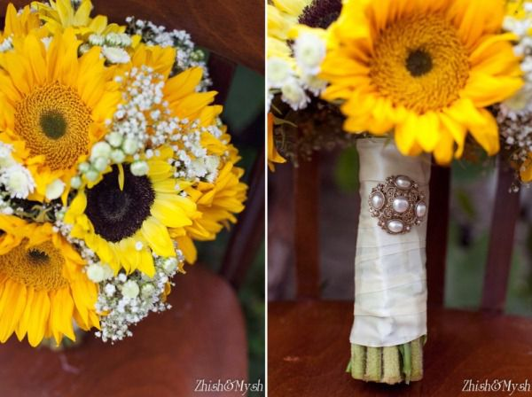 букет невесты с подсолнухами