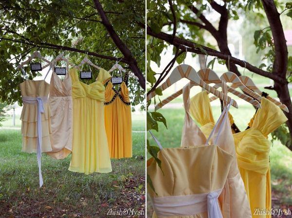 образы невесты и подружек на желтую свадьбу